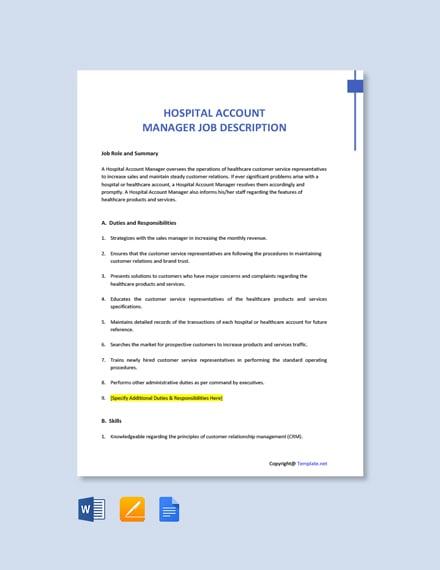 Free Hospital Account Manager Job Description Template