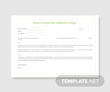 Notice to Vacate from Landlord to Tenant Template