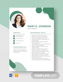 Home Manager Resume Template