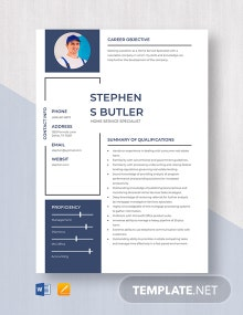 Home Service Specialist Resume Template