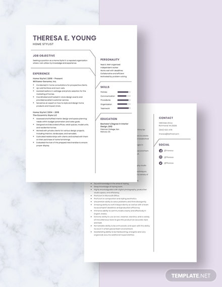 Home Stylist Resume Download