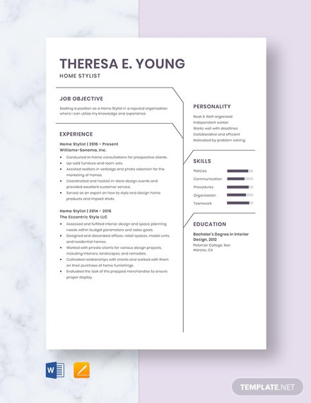 Home Stylist Resume Template
