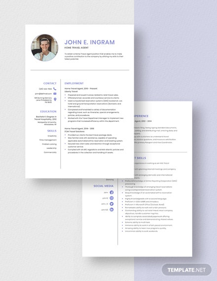 Home Travel Agent Resume Download