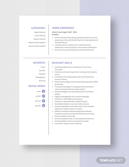 Home Travel Agent Resume Template