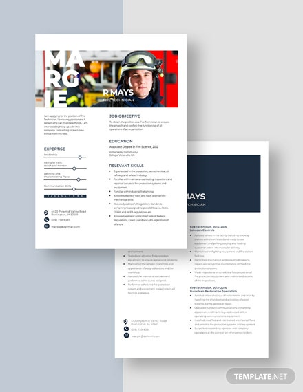Fire Technician Resume Download