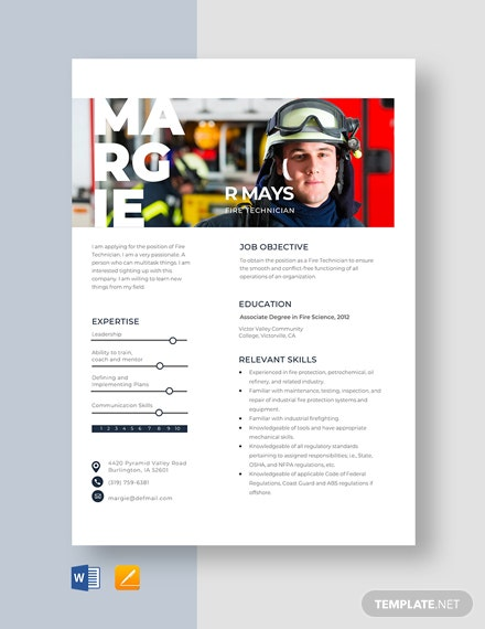 Fire Technician Resume