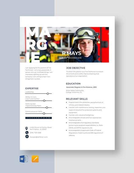 Fire Technician Resume Template