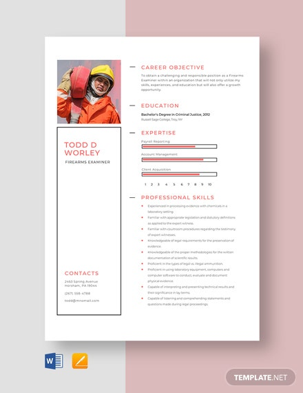 Firearms Examiner Resume Template