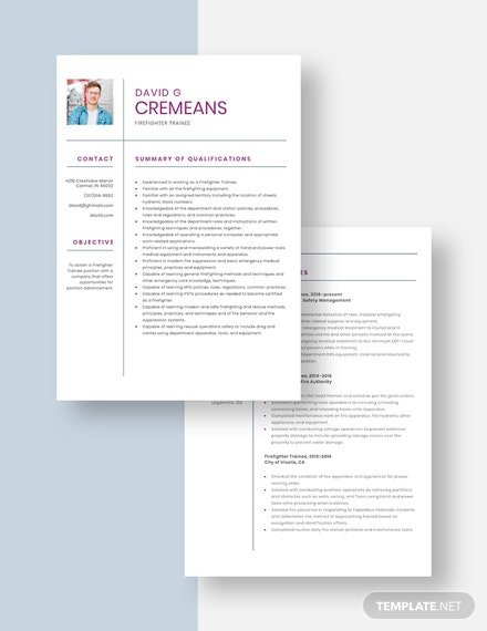Firefighter Trainee Resume Download