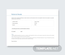 Notice to Vacate Template
