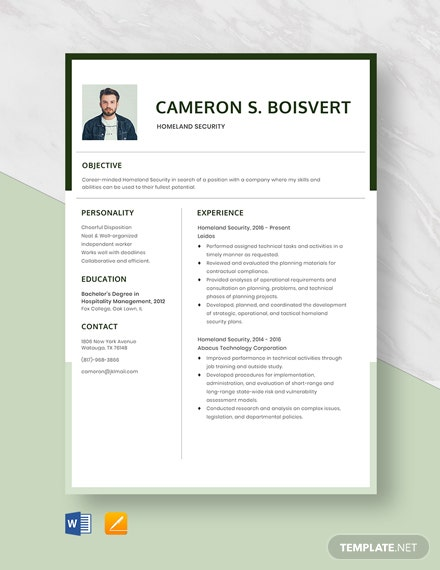 Homeland Security Resume Template