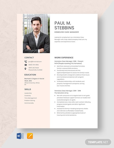 Homeless Case Manager Resume Template