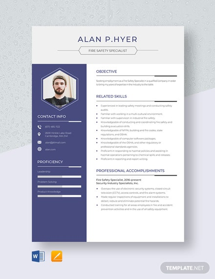Fire Safety Specialist Resume Template