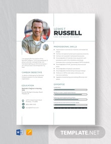 Fire Sprinkler Designer Resume Template