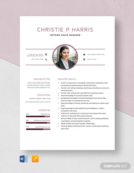 Outside Sales Manager Resume Template