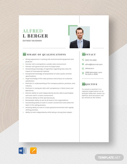 Outside Salesman Resume Template