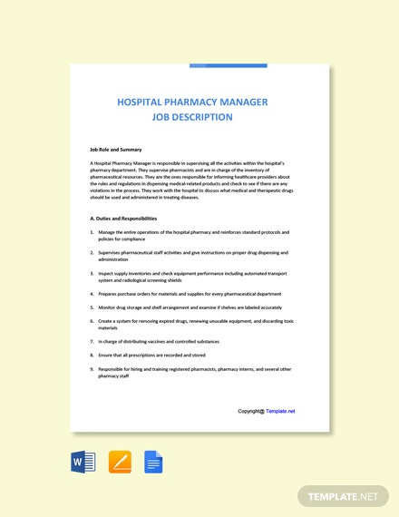 Free Hospital Pharmacy Manager Job Description Template