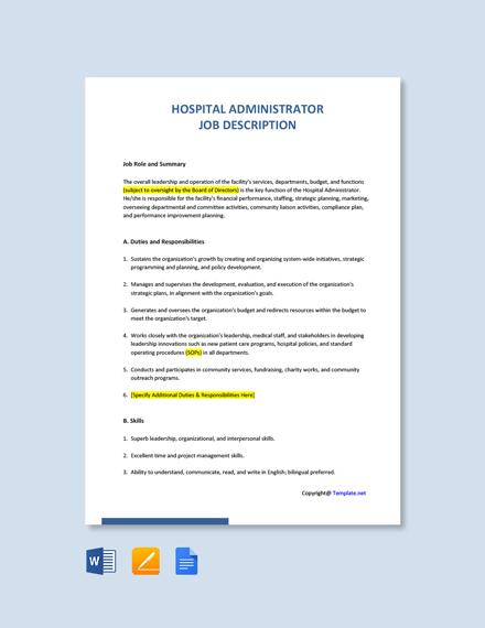 Free Hospital Administrator Job Ad/Description Template