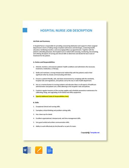 Free Hospital Nurse Job Ad/Description Template
