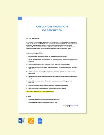 Free Ambulatory Pharmacist Job Description Template