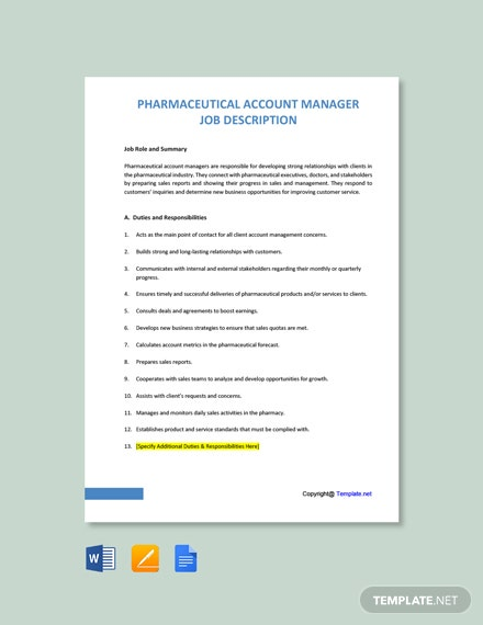 Free Pharmaceutical Account Manager Job Description Template