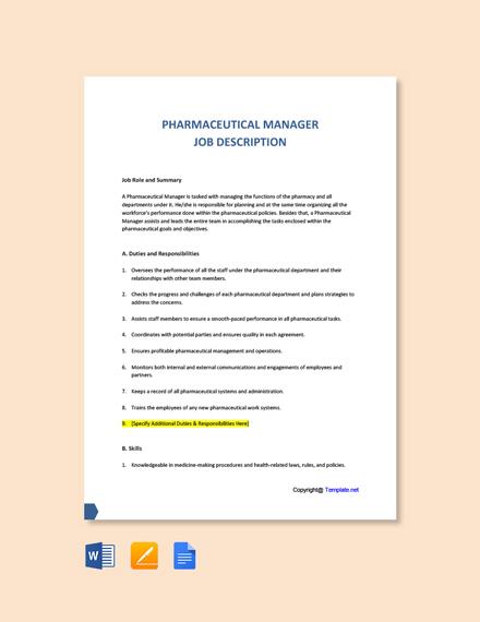 Free Pharmaceutical Manager Job Description Template