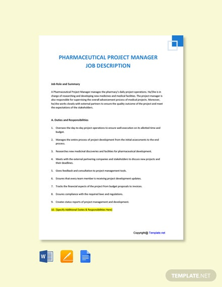 Free Pharmaceutical Project Manager Job Description Template