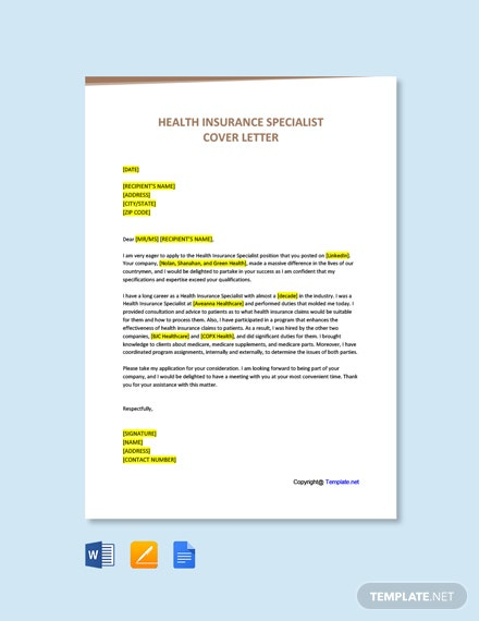 Free Health Insurance Specialist Cover Letter Template