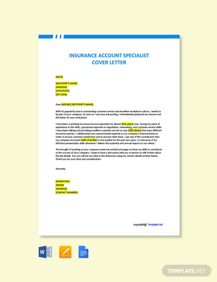 Free Insurance Account Specialist Cover Letter Template