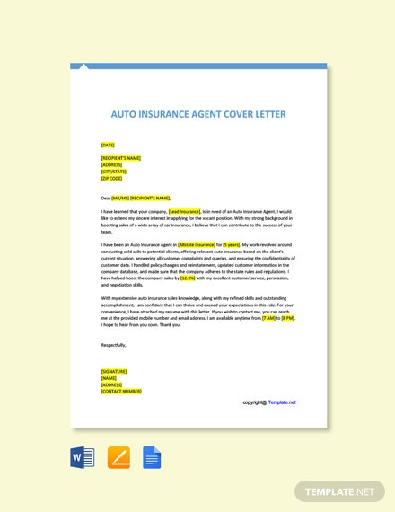 5+ FREE Agent Cover Letter Templates - Word | Google Docs ...