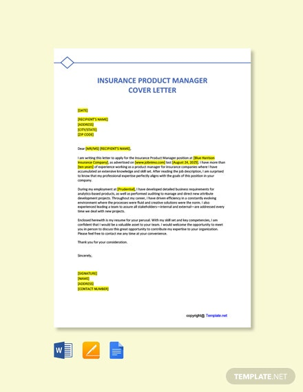 Free Insurance Product Manager Cover Letter Template