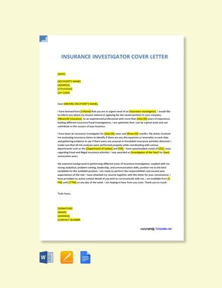 Free Insurance Investigator Cover Letter Template