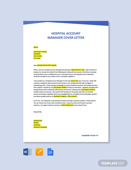 Free Hospital Account Manager Cover Letter Template