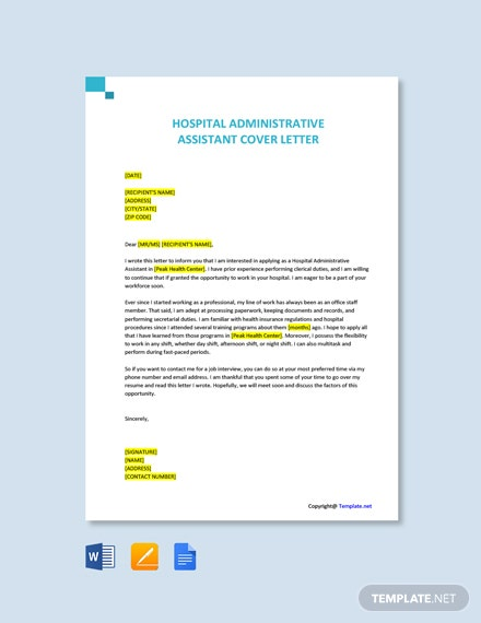 Free Hospital Administrative Assistant Cover Letter Template