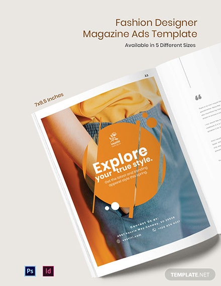 Free Fashion Designer Magazine Ads Template