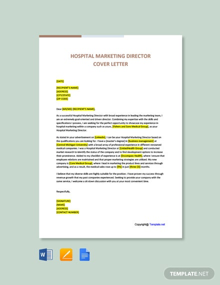 Hospital Marketing Director Cover Letter Template