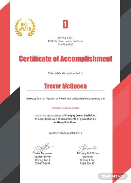 Free Driving Experience Certificate Template