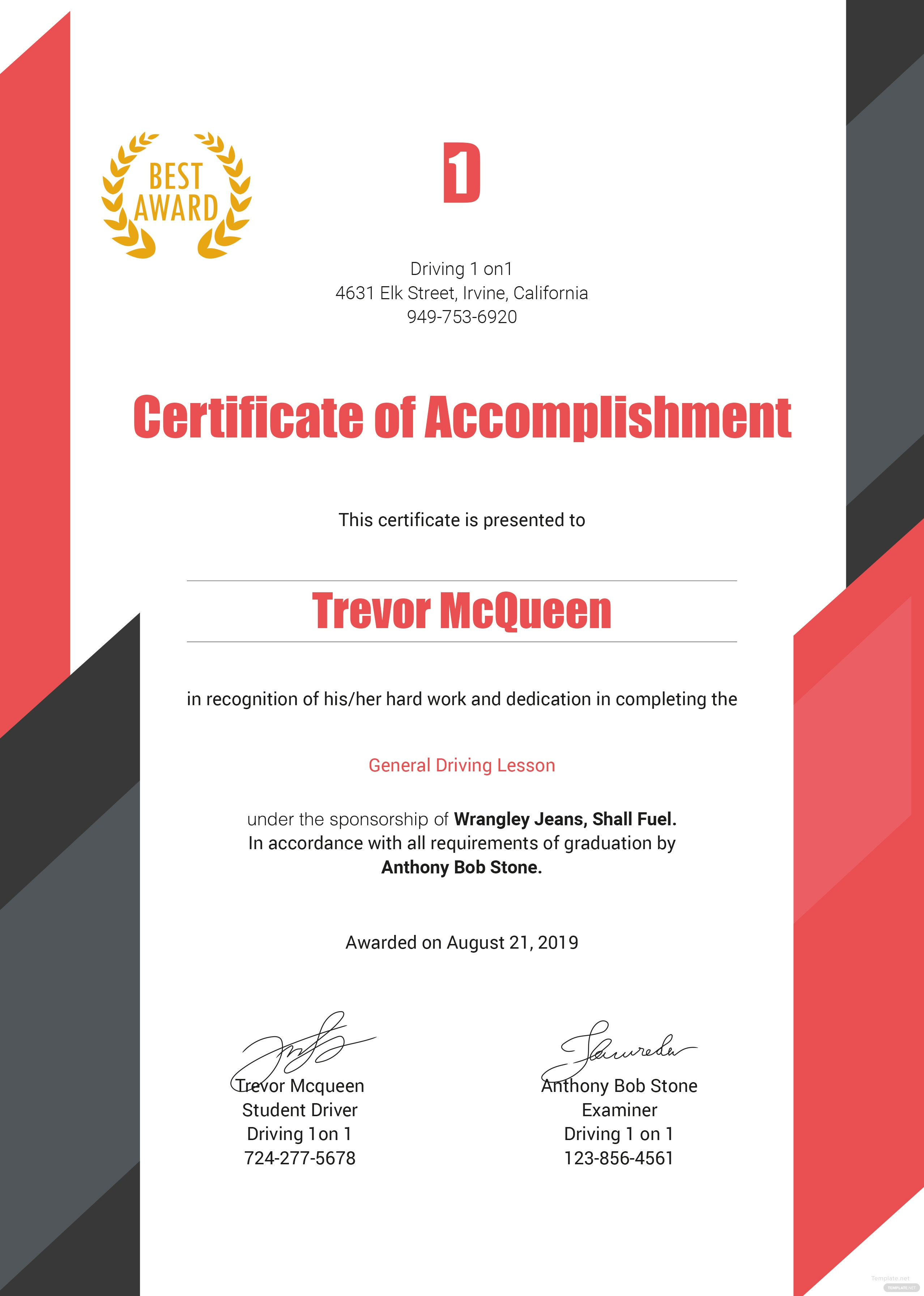 free driving experience certificate template in microsoft