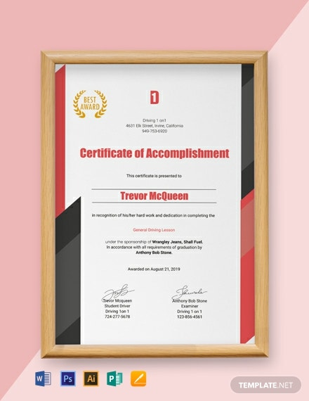 FREE Driving Experience Certificate Template - Word | PSD ...