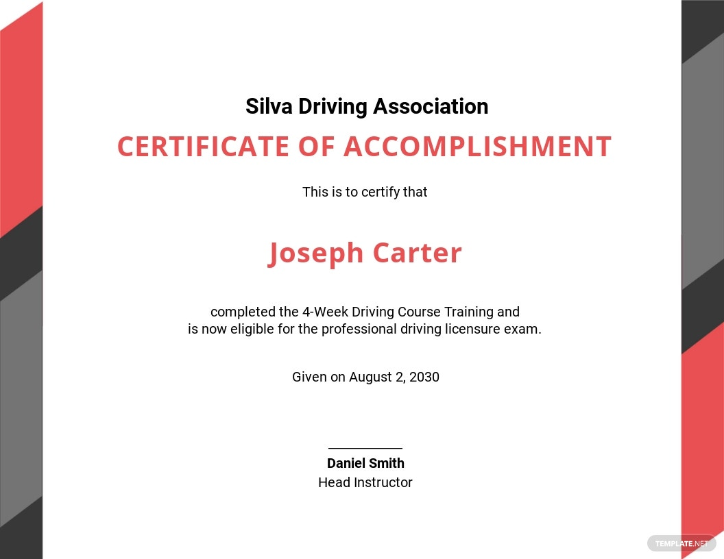 Driving Experience Certificate Template