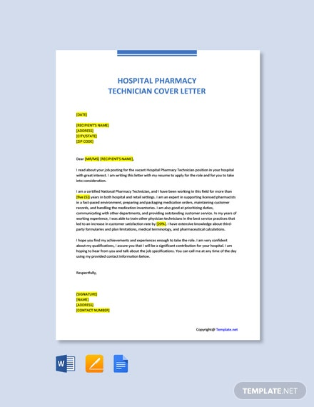 Free Hospital Pharmacy Technician Cover Letter Template