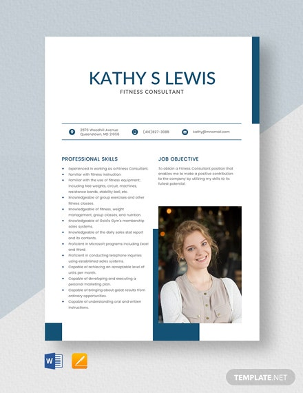 Fitness Consultant Resume Template