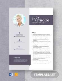 Fitness Coordinator Resume Template