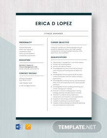 Fitness Manager Resume Template