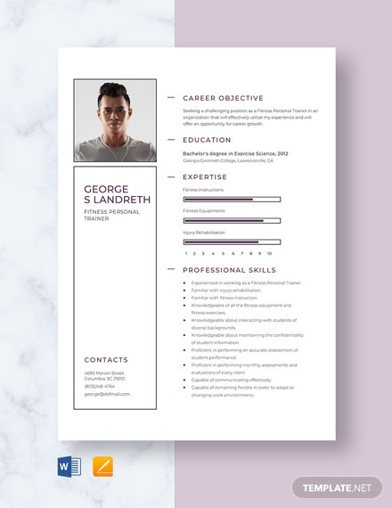 Fitness Personal Trainer Resume