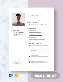 Fitness Personal Trainer Resume Template