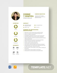 Fitness Specialist Resume Template