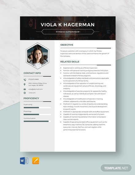 Fitness Supervisor Resume Template