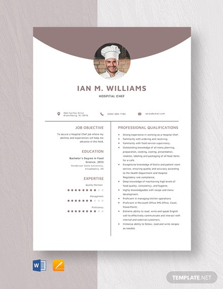 Hospital Chef Resume Template