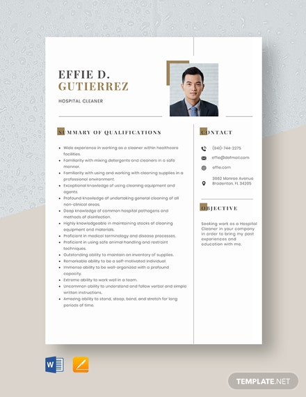 Hospital Cleaner Resume Template
